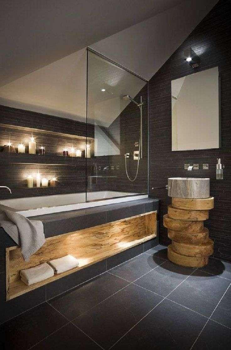 Wandtegels Badkamer Brico ~ Badkamer antraciet met hout  Woontrendz