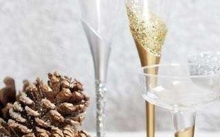 Champagne glas met glitters