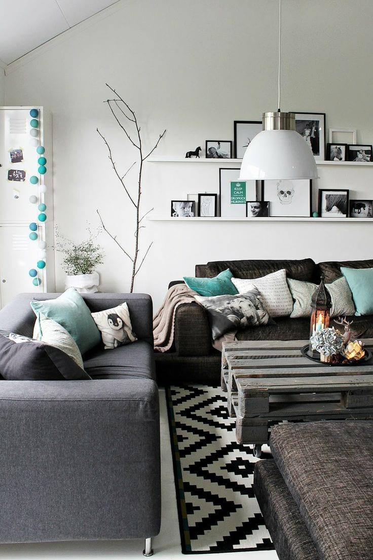 Zwart wit kamer met turqouise