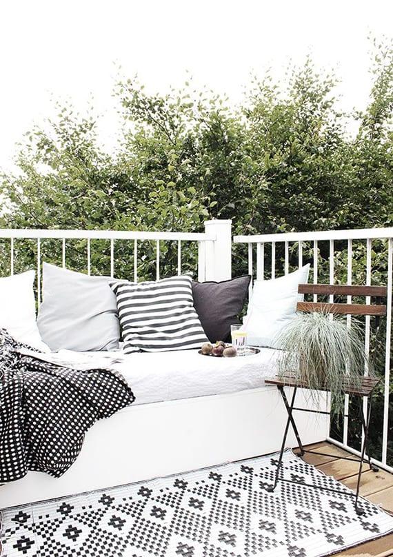 Balkon inspiratie met vloerkleed