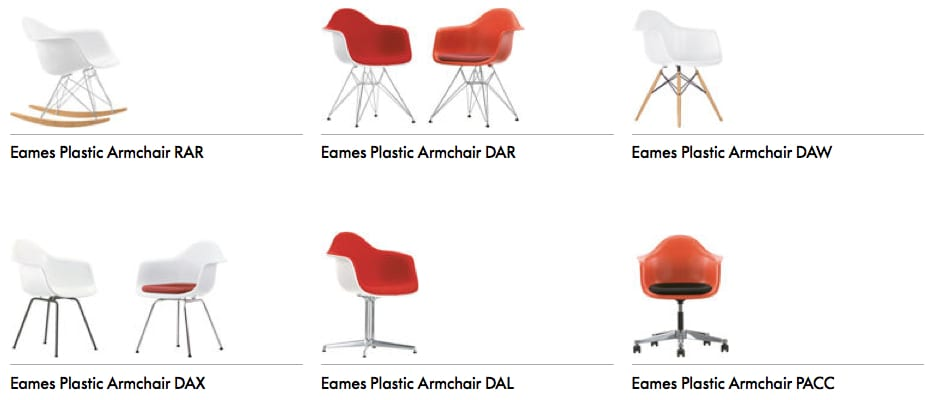 Vitra Eames Plastic Chair Armchair uitvoeringen