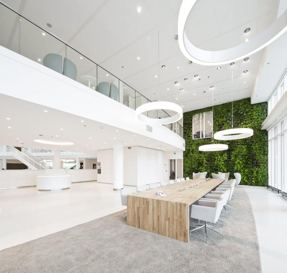 Groenen plantenwand op kantoor