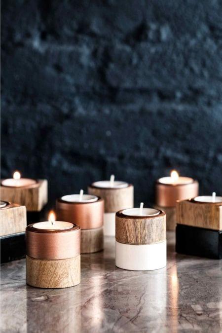 Kaarsen met koper