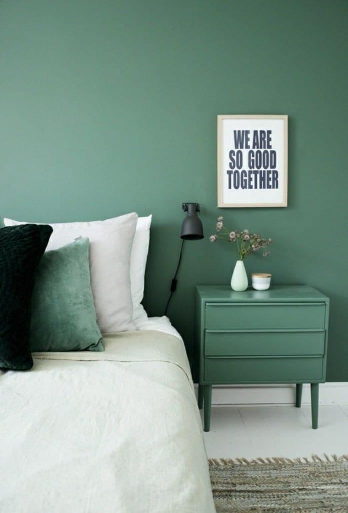 Slaapkamer met veel groen