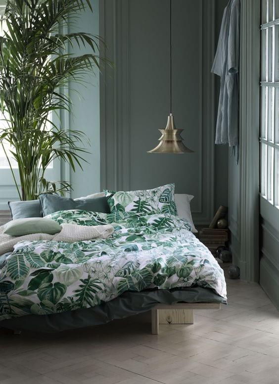 Slaapkamer met groen