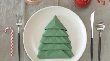 Kerstboom servet vouwen