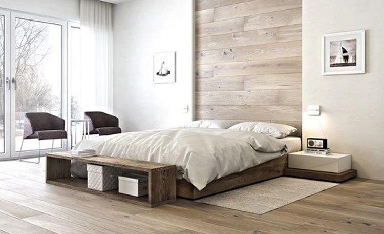 Slaapkamer houten vloer en muur