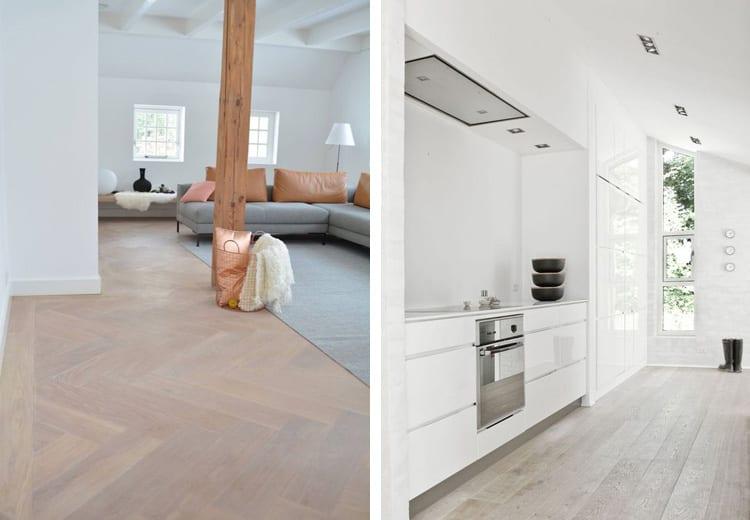 Whitewash vloer keuken en woonkamer