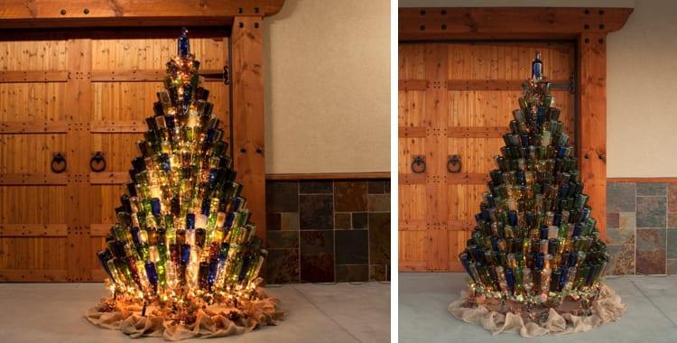 Kerstboom van wijnflessen verlicht en niet verlicht