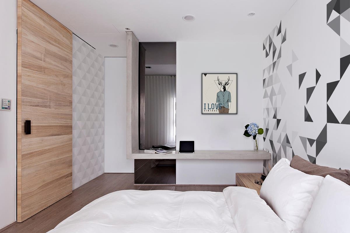 Slaapkamer met print
