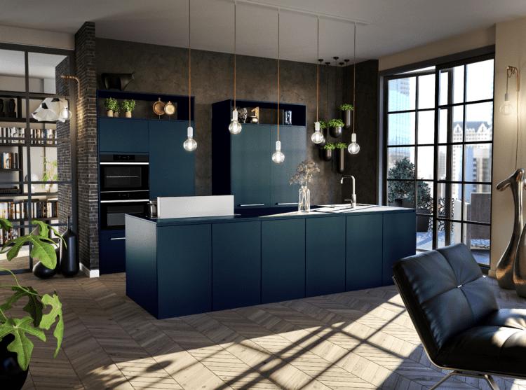 Keuken donkerblauw met kookeiland