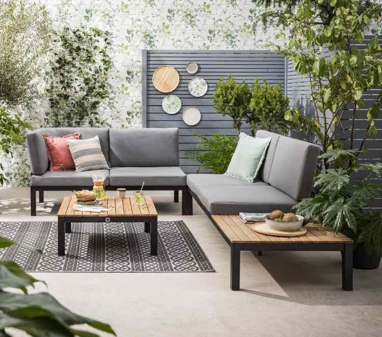 Lounge set grijs met hout - Leen Bakker