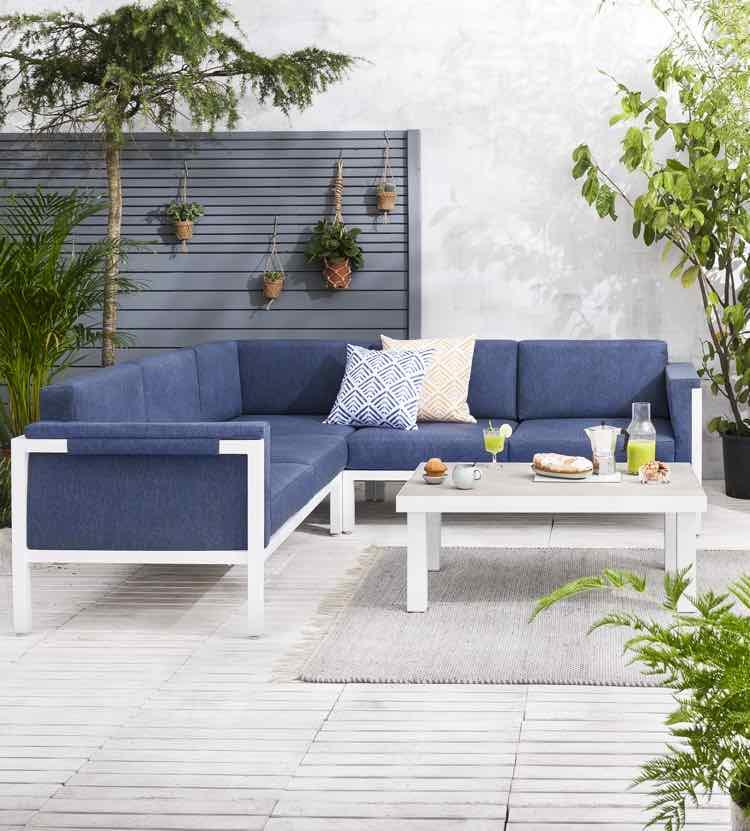 Loungebank blauw wit- Leen Bakker