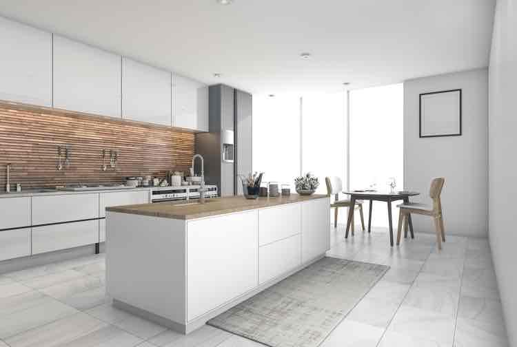 Witte moderne keuken met hout