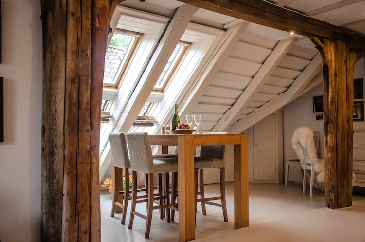 Houten balken interieur