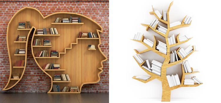 Boekenkast hout boom gezicht