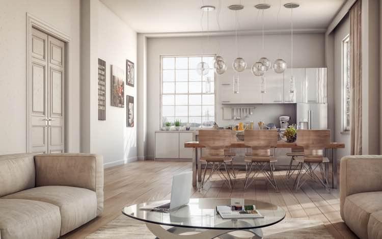 Moderne woonkamer en keuken met houten vloer