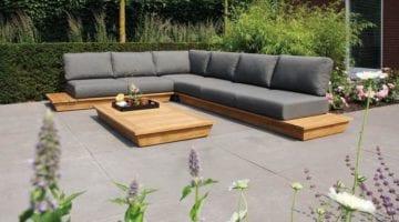 Isla loungeset hout grijs