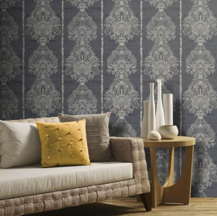 Barok behang blauw grijs