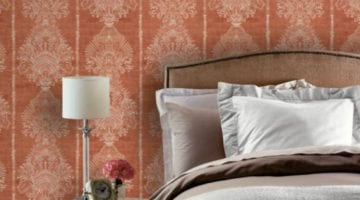 Barok behang slaapkamer oranje roze