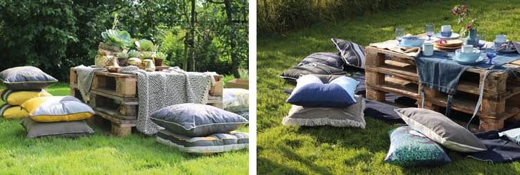Picknicken in eigen tuin met tuinkussens en pallets