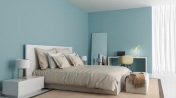 Moderne slaapkamer lichtblauwe muren